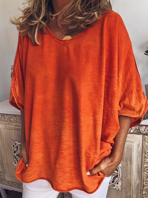 Short Sleeve V Neck Plain Blouse