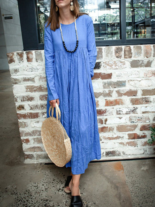 Crew Neck Casual Long Sleeve Dresses