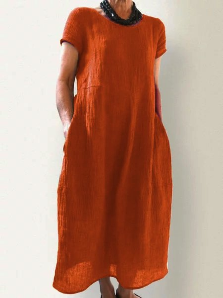 Summer Pockets Round Neck Cotton-Blend Dresses