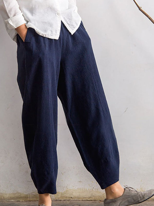 Cotton-Blend Solid Pockets Elastic Band Pants