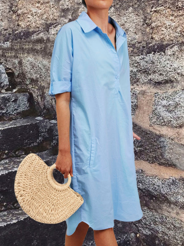 Large size cotton shirt dress