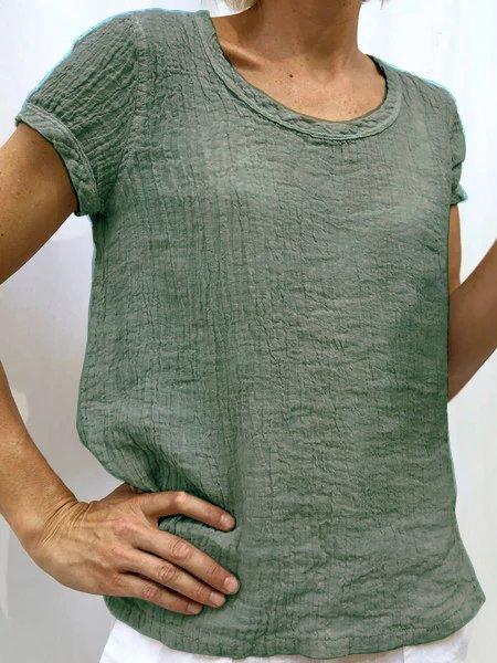 Plain Cotton-Blend Short Sleeve Casual Blouses