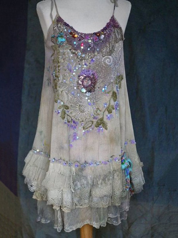 Embroidered vintage lace dress