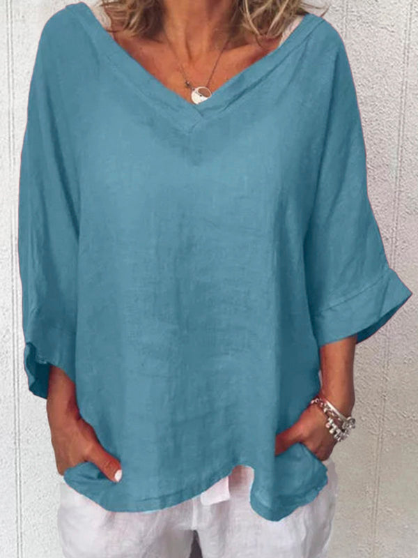 Plus Size V Neck 3/4 Sleeve Tops