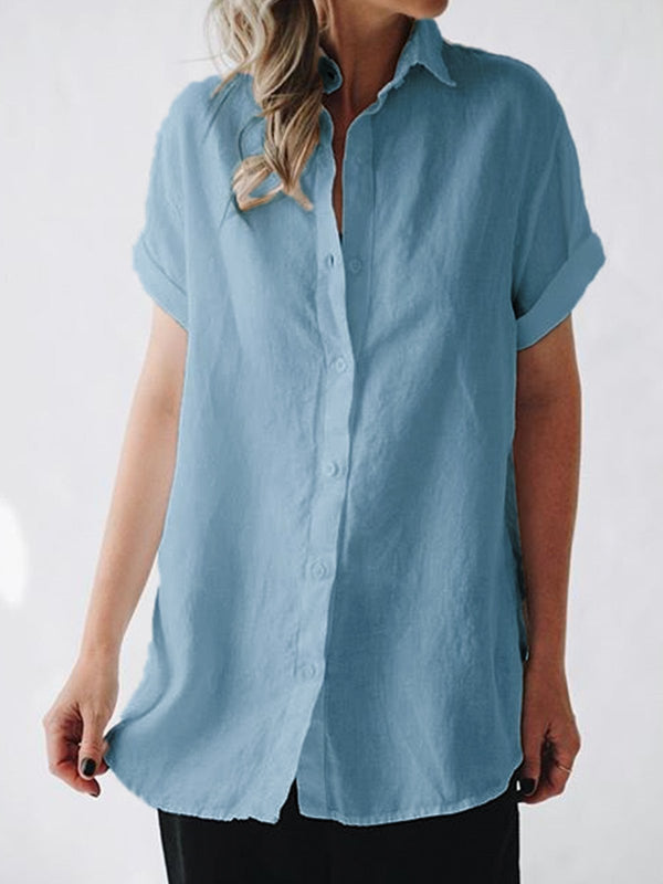 Short Sleeves Casual Cotton-Blend Shirts