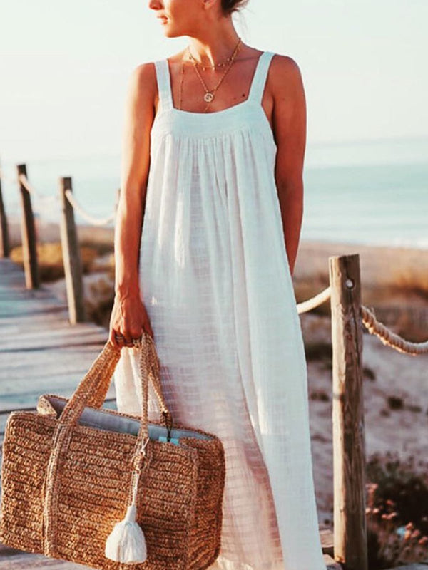 Bohemian cotton suspender dress