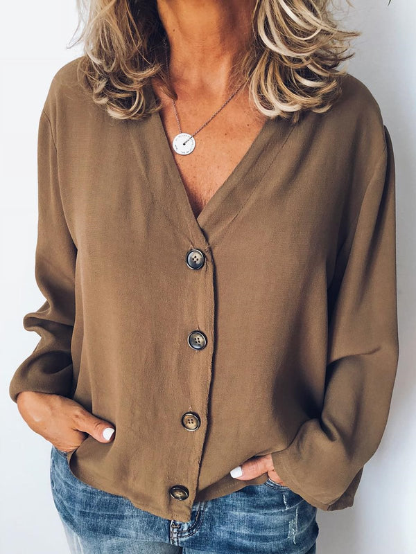 Casual Buttoned Long Sleeve Tops