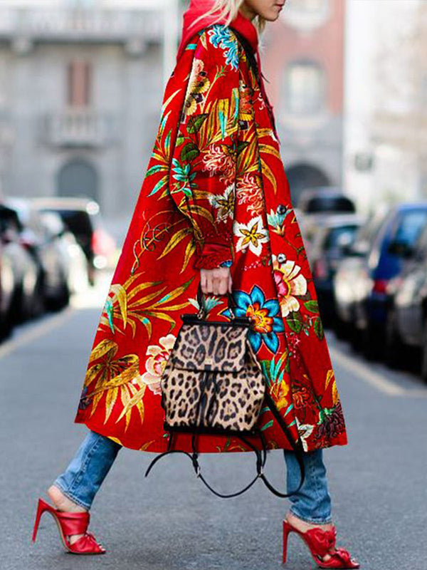 Red Floral Printed Hoodie Long Sleeve Pockets Outerwear