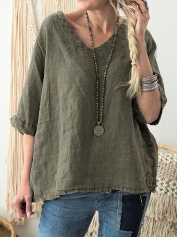 Half Sleeve V Neck Solid Blouses