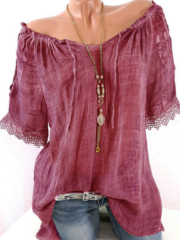 Lace Crochet Short Sleeve Tops