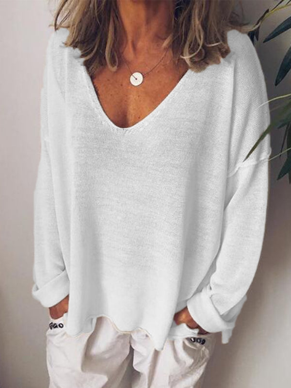 V Neck Cotton-Blend Long Sleeve Tops