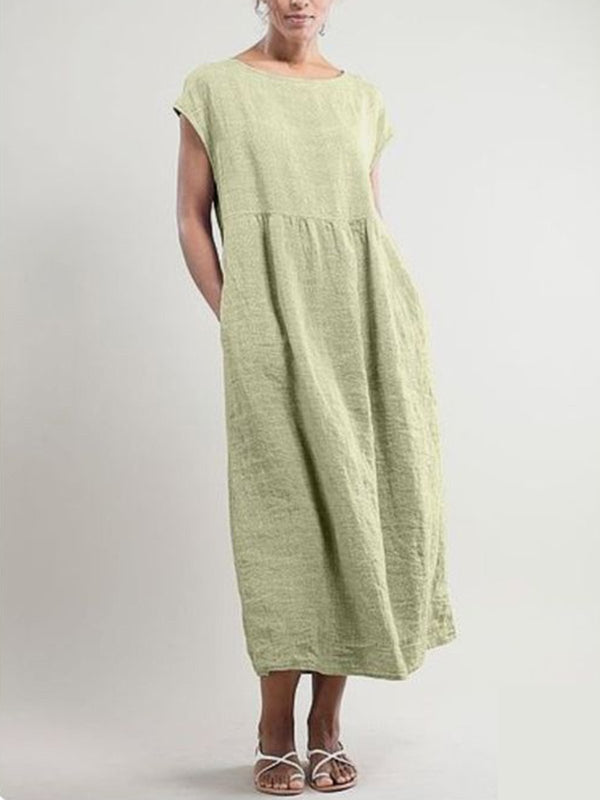 Crew Neck Daily Cotton Pockets Dresses