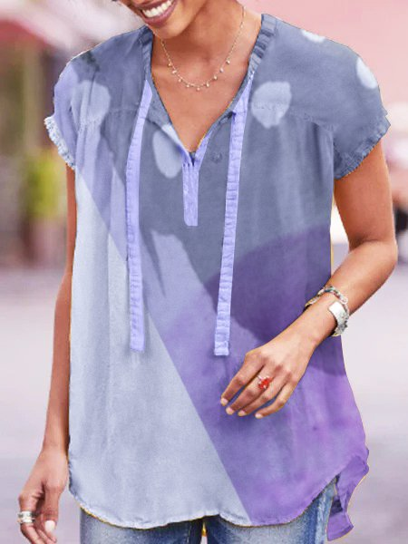 Short Sleeve Casual Cotton-Blend V Neck Shirts & Tops