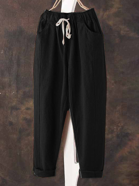 Cotton-Blend Casual Pockets Drawstring Natural Pants