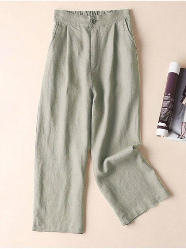 Solid Pockets Elastic Cotton-Blend Straight Pants