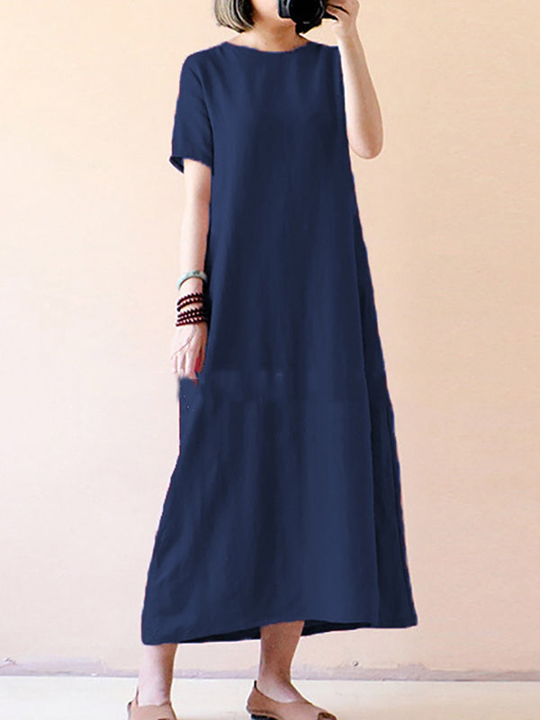 Cotton-Blend Short Sleeve Casual Dresses