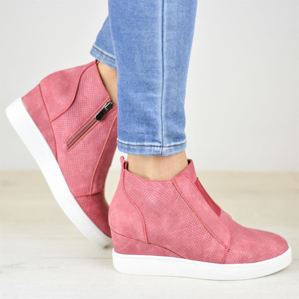 Womens Fashion Sneakers Platform Wedges Strap High Top Zipper Penny Booties Faux Leather