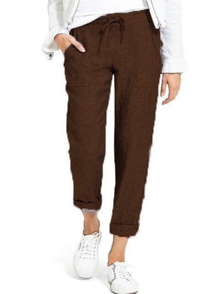 Casual Cotton Solid Daily Pants