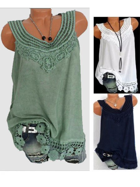 Women Solid Sleeveless Lace T-Shirts