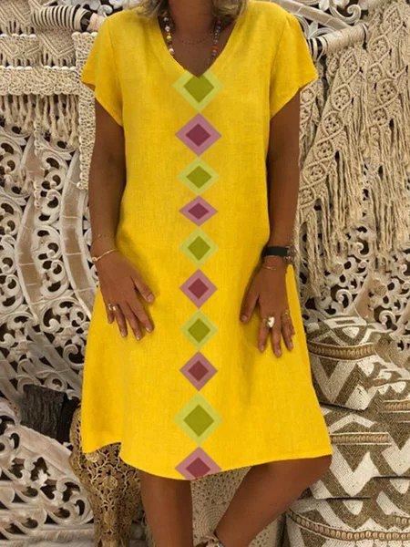 Summer Geometric Print V-Neck Casual Dresses