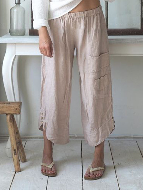 Summer Pockets Buttoned Elastic Waist Capri Pants