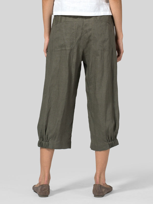 Solid Casual Pleated Cotton-Blend Pants