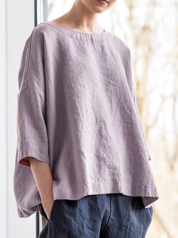 Solid Round Neck Casual Blouses