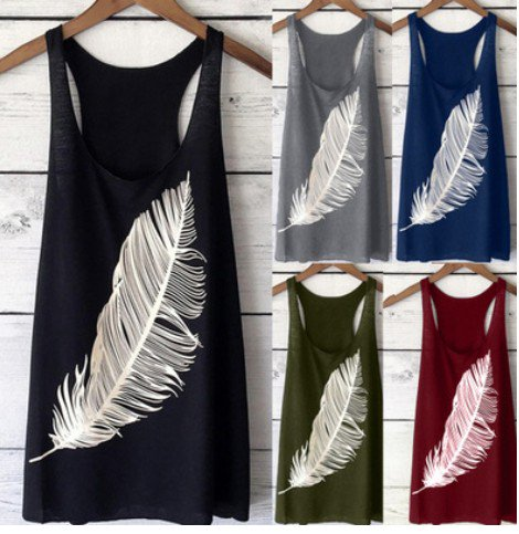 Women Summer Sleeveless Tanks Casual Printed Cotton Tops