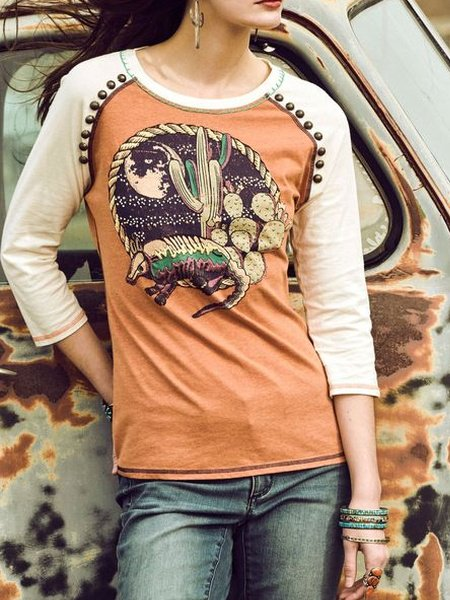 Orange Cotton-Blend Long Sleeve Shirts & Tops
