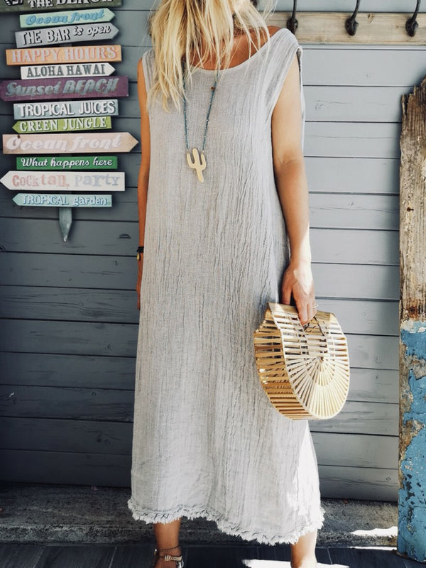 Crew Neck Shift Boho Plain Dresses