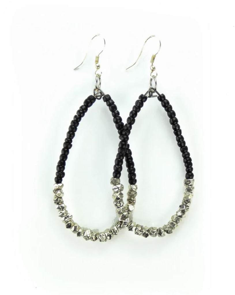 Badaami Earrings (Black and Silver)