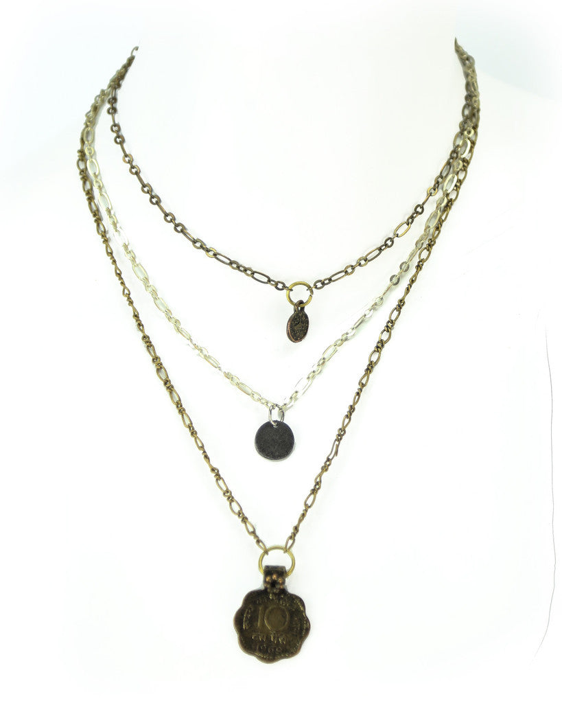 3 Strand Coin Necklace