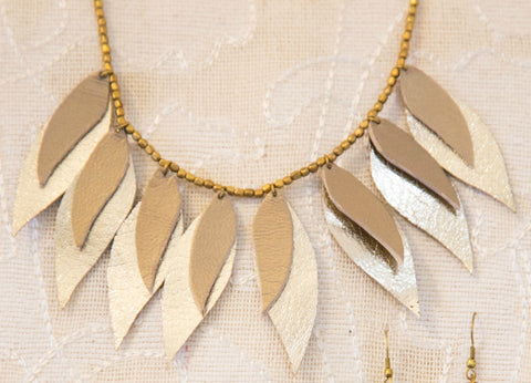 Leather Leaf Necklace