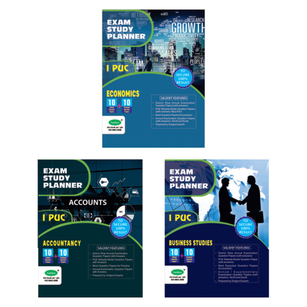 10+10 1ST PUC COMMERCE (ACC, BUS, ECO) - Combo (Pack of 3)