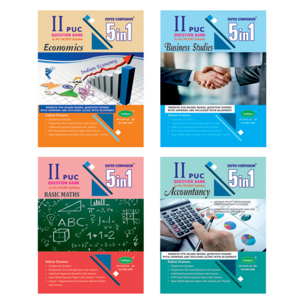 5 in 1 2nd PUC Commerce (BASIC MATH, ECO, BUS, ACC) - Combo (Pack of 4)