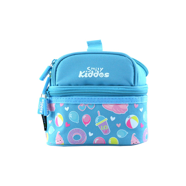 Smily Dual Slot Lunch Bag Light Blue