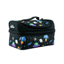 Smily Dual Slot Lunch Bag Black