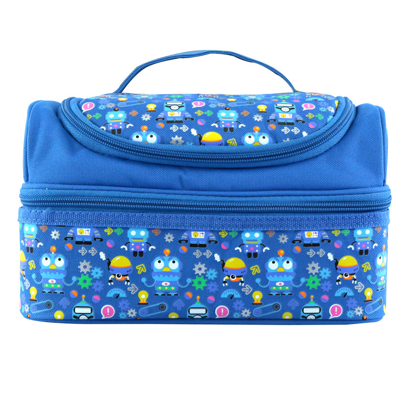 Smily Dual Slot Lunch Bag Blue