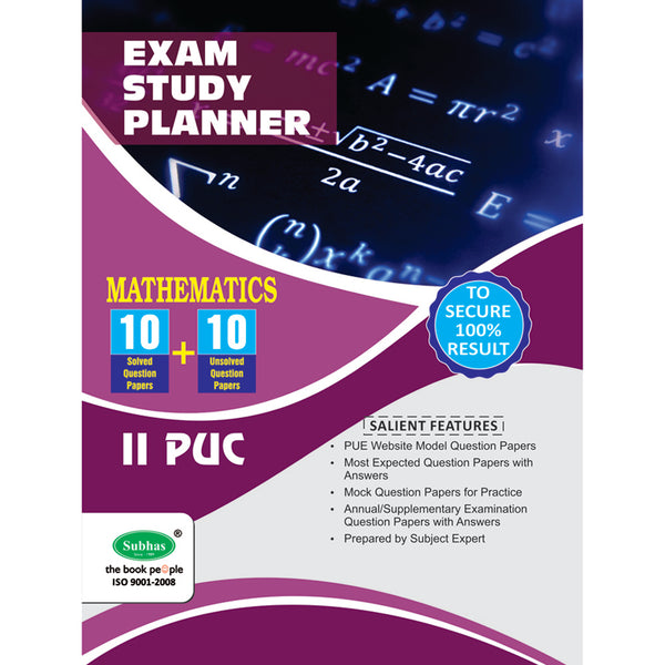 10+10 EXAM STUDY PLANNER MATHEMATICS 2ND PUC
