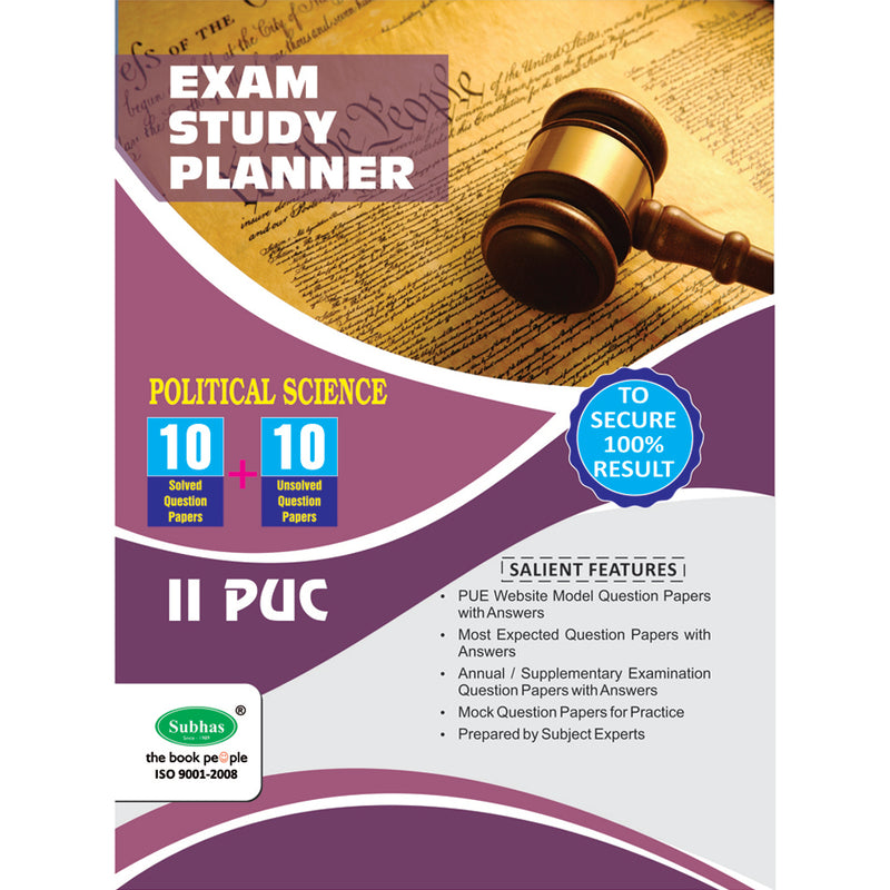 10+10 EXAM STUDY PLANNER POLITICAL SCIENCE 2ND PUC
