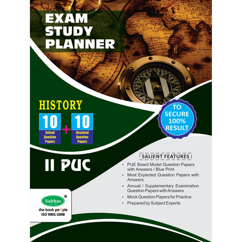 10+10 EXAM STUDY PLANNER HISTORY 2ND PUC