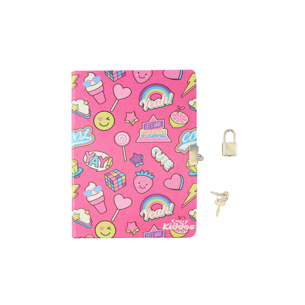 Smily Lockable Notebook Pink
