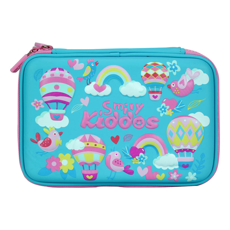 Smily Double Compartment Pencil Case Light Blue