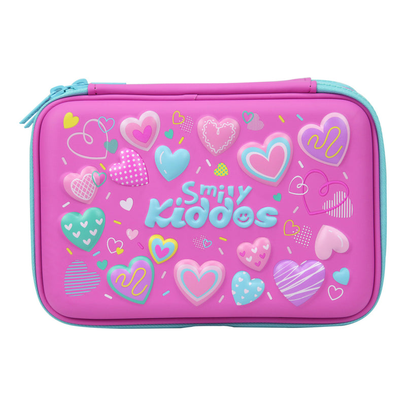 Smily Double Compartment Pencil Case Pink