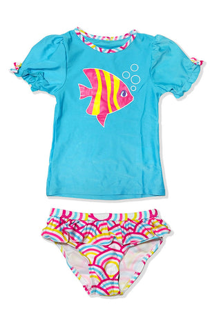 Small Girls Light Blue Fish Rash Guard Set