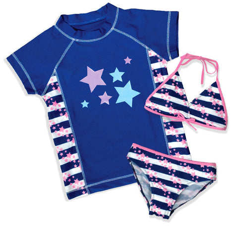 Girls Blue Stars 3 Piece Rash Guard