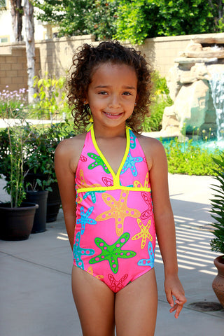 Small Girls Pink Starfish One Piece