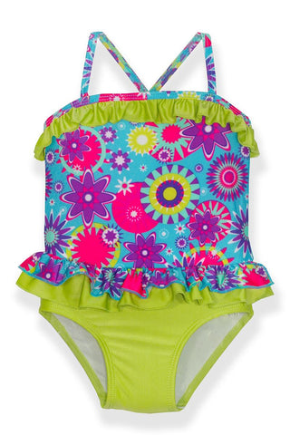 Small Girls Blue Flowers One-Piece