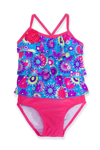 Small Girls Blue Flowers Tankini