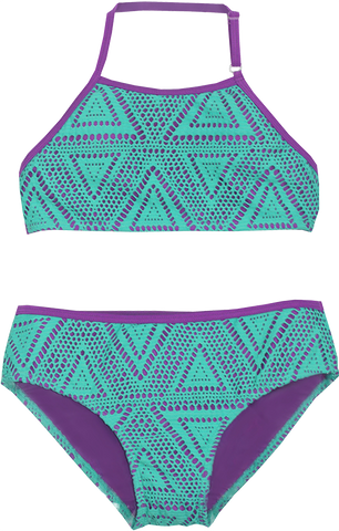 Girls High Neck Bikini Set